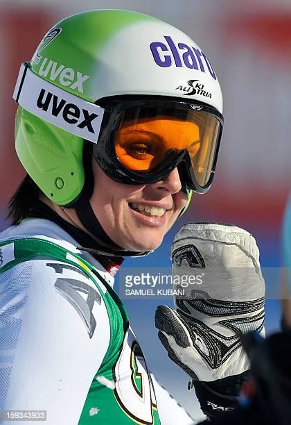 Austrian Anna Fenninger reacts in finish area of the women's World Cup downill on January 12 2012 in St Anton am Arlberg AustriaUS Alice McKennis won...