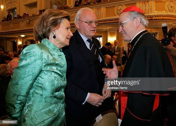 Austrian archbishop Alois Kothgasser welcomes former German President Roman Herzog and his wife at the opening of the Mozart week at the Mozarteum...
