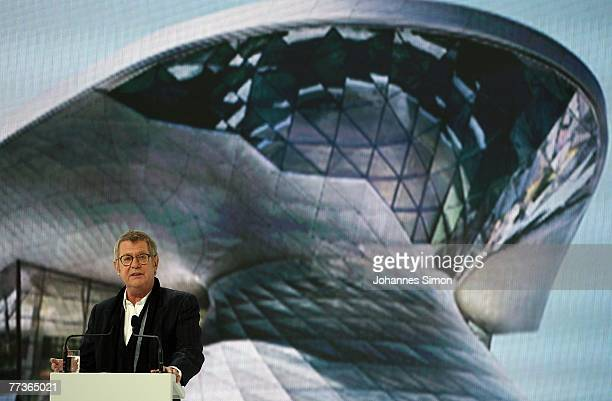 Austrian Architect Wolf Prix of Coop Himmelblau delivers a speech during the opening ceremony of the BMW World on October 17 2007 in Munich Germany...