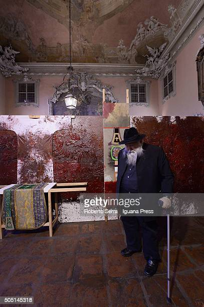 Austrian artist Hermann Nitsch attends the 'Crocifissioni Crucifixion' Exhibition Preview at Palazzo Aldrovandi Montanari on January 15 2016 in...