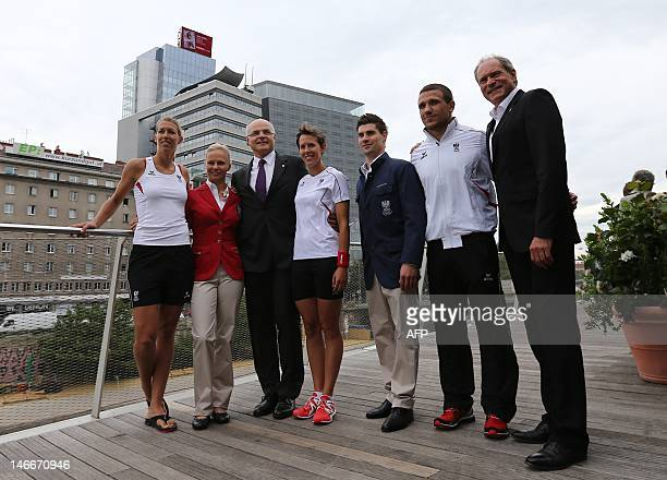 Austrian athletes from left beach volleyball player Doris Schwaiger Equestrian rider Victoria MaxTheurer Austrian Olympic Comittee President Karl...