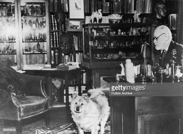 Austrian author and founder of psychoanalysis Sigmund Freud with his chow Jofi in his study at Berggasse 19 Vienna Austria circa 1937 The photo was...