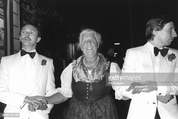 Austrian Baroness Maria von Trapp whose book the Trapp Family Singers inspired the Sound Of Music musical arrives at the Apollo Victoria Theatre in...
