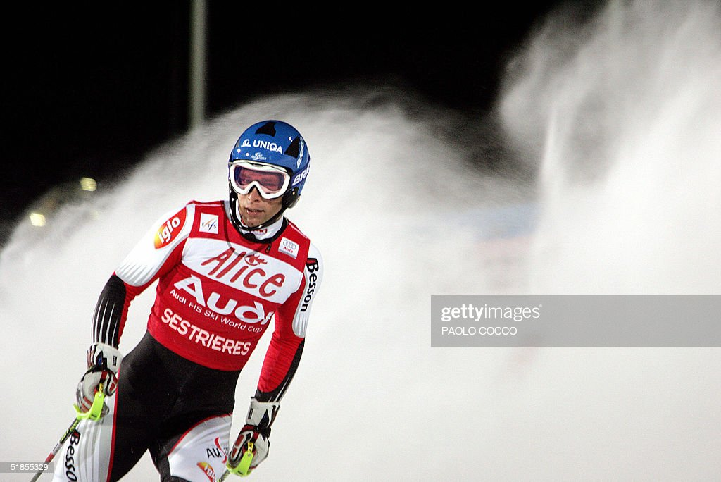 Austrian Benjamin Raich reacts in the finish area after taking the fourth place in the World Cup men's slalom competition in Sestriere, 13 December 2004. US Bode Miller won the competition while Switzerland's Silvan Zurbriggen placed second and Finnish Kalle Palander third. AFP PHOTO/Paolo COCCO