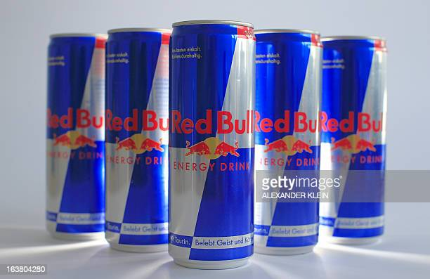 Austrian beverage energy drink cans of Red Bull are pictured in Vienna on March 16 2013 Red Bull said that an unknown person has been attempting for...