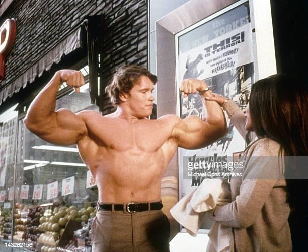 Austrian Bodybuilder Arnold Schwarzenegger in a scene from the Trimark Pictures movie 'Hercules In New York' in 1969 in New York city, New York.