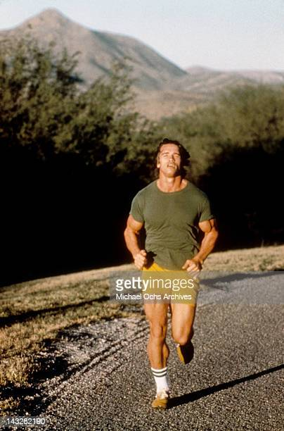 Austrian Bodybuilder Arnold Schwarzenegger out for a run circa 1977 in Los Angeles California