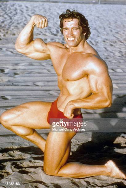 Austrian Bodybuilder Arnold Schwarzenegger poses for a portrait on Venice Beach in August 1977 in Los Angeles California