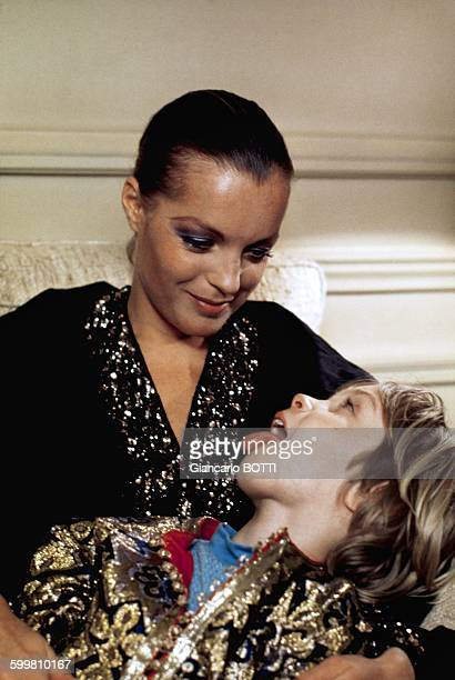 Austrian born actress Romy Schneider with her son David Meyen at home in France in 1974