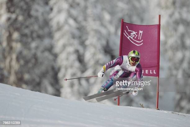 Austrian born alpine skier Marc Girardelli pictured competing for the Luxembourg team to finish in 5th place in the Men's downhill skiing event held...