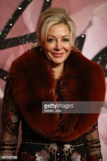 Austrian businesswoman Nadja Swarovski poses for pictures on the red carpet upon arrival to attend the British Fashion Awards 2016 in London on...