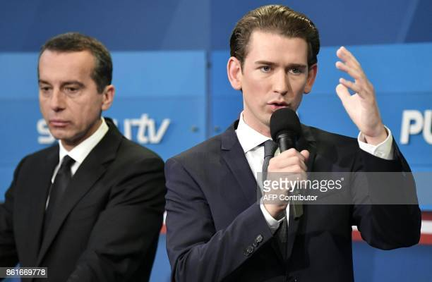 Austrian Chancellor and leader of the Social Democrats Christian Kern and Austria's Foreign Minister and leader of Austria's centreright People's...
