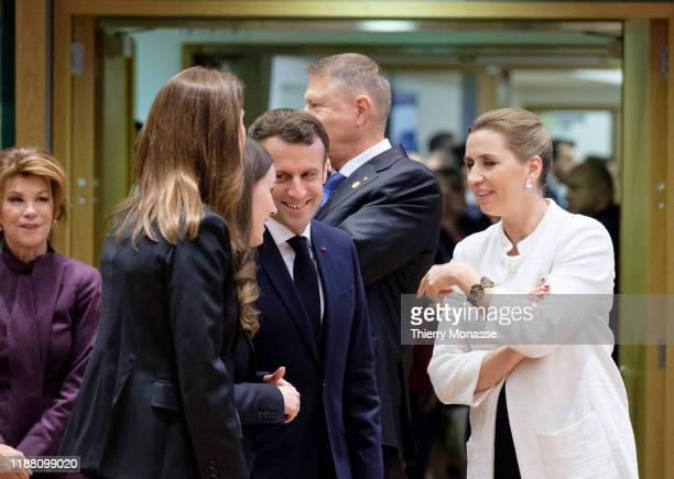 Austrian Chancellor Brigitte Bierlein is talking wit the Belgium Prime Minister Sophie Wilmes the Finnish Prime Minister Sanna Mirella Marin the...