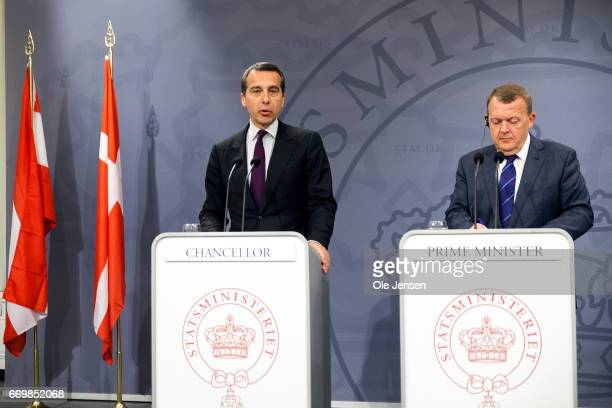 Austrian Chancellor Christian Kern and Danish Prime Minister Lars Loekke Rasmussen holds a joint press meeting at the Ministry of State during Kern's...