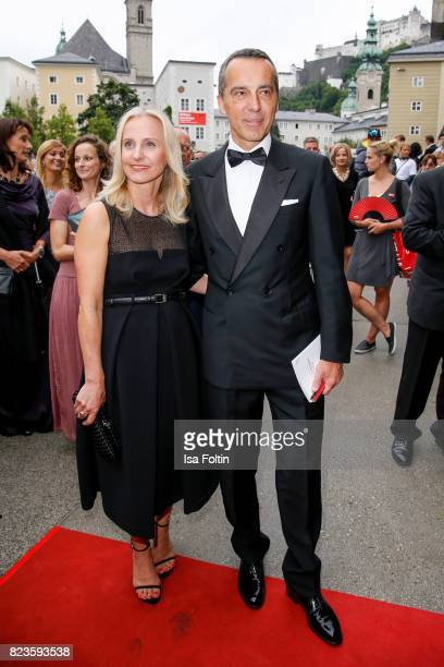 Austrian chancellor Christian Kern and his wife Eveline SteinbergerKern attends the 'La Clemenzia di Tito' premiere during the Salzburg Festival 2017...