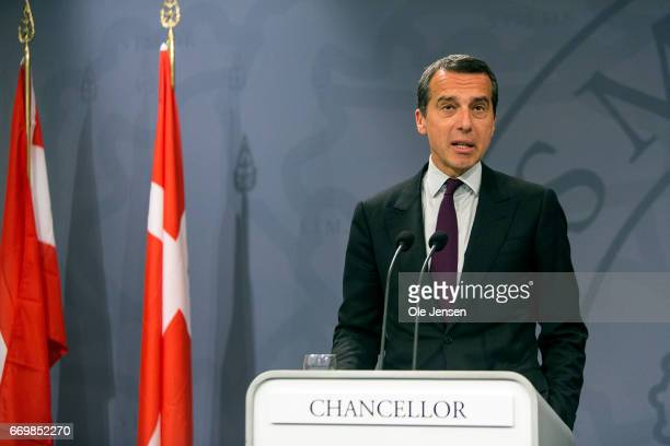 Austrian Chancellor Christian Kern speaks during the joint press conference with Danish Prime Minister Lars Loekke Rasmussen at the Ministry of State...