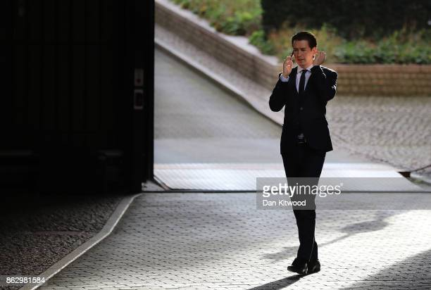 Austrian Chancellor in waiting Sebastian Kurz arrives ahead of a European Council Meeting at the Council of the European Union building on October 19...