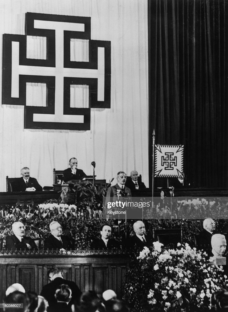 Austrian Chancellor Kurt Schuschnigg (1897 - 1977) gives a speech in the Austrian Bundestag calling for a halt to German expansionism, February 1938. On 12th March the Anschluss took place, annexing Austria into Greater Germany.