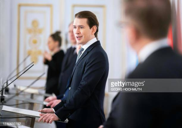 Austrian Chancellor Sebastian Kurz addresses a government press conference on the current situation regarding the coronavirus pandemic on January 17...