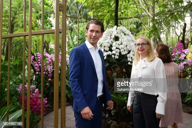 Austrian Chancellor Sebastian Kurz and Austria Minister of Digitalisation and Economics Margarete Schrambock tour the orchid garden after the orchid...