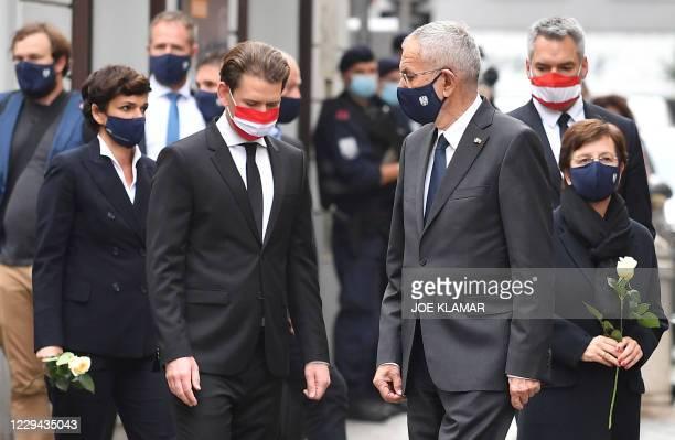 Austrian Chancellor Sebastian Kurz and Austrian President Alexander van der Bellen arrive to pay their respects to the victims of a shooting in...