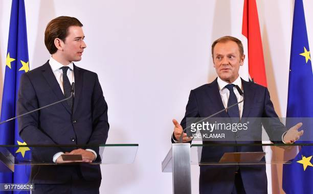 Austrian Chancellor Sebastian Kurz and European Council President Donald Tusk give a press conference on February 13 2018 at the Chancellery in...