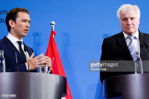 Austrian Chancellor Sebastian Kurz and German Interior Minister Horst Seehofer attend a press conference on June 13 2018 in Berlin Germany Both men...