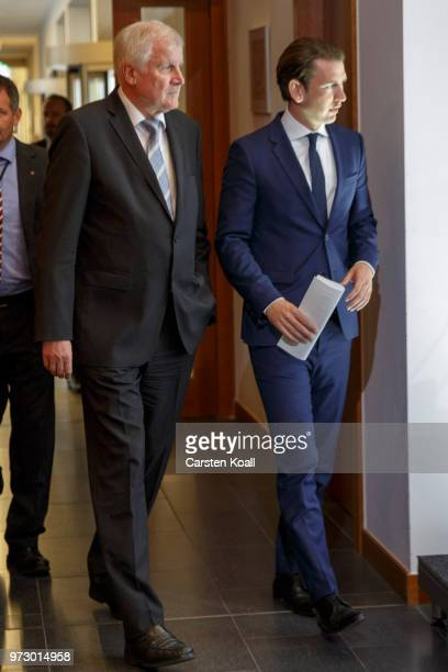 Austrian Chancellor Sebastian Kurz and German Interior Minister Horst Seehofer arrive to speak to the media on June 13 2018 in Berlin Germany Both...