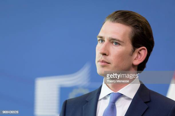 Austrian Chancellor Sebastian Kurz and the President of the European Commission are talking to media at the end of a bilateral meeting in the...
