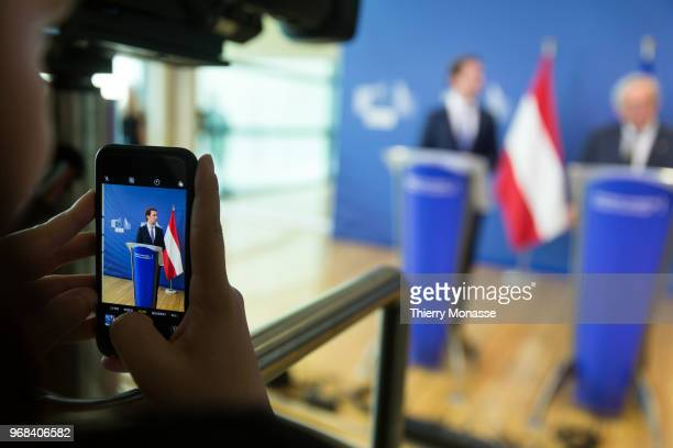 Austrian Chancellor Sebastian Kurz and the President of the European Commission JeanClaude Juncker are talking to media at the end of a bilateral...