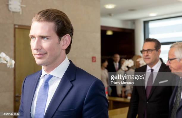 Austrian Chancellor Sebastian Kurz arrives for a family photo in the Berlaymont the EU Commission headquarters on June 6 2018 in Brussels Belgium...