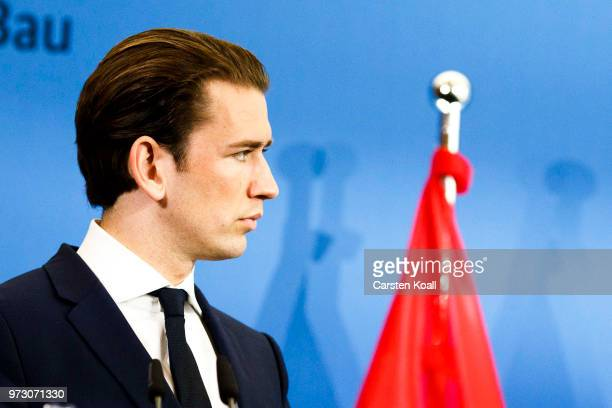 Austrian Chancellor Sebastian Kurz attends a press conference with German Interior Minister Horst Seehofer on June 13 2018 in Berlin Germany Both men...
