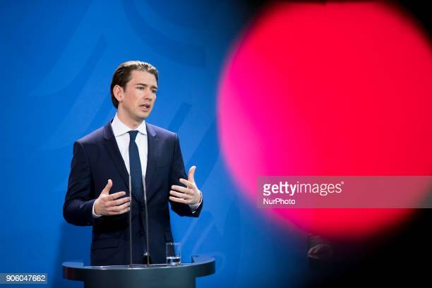 Austrian Chancellor Sebastian Kurz is pictured during a press conference held with German Chancellor Angela Merkel at the Chancellery in Berlin...