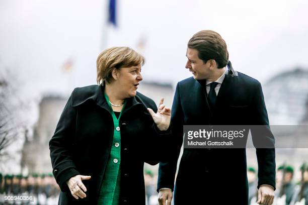 Austrian Chancellor Sebastian Kurz meets German Chancellor Angela Merkel at German Chancellery on January 17 2018 in Berlin Germany Kurz became...