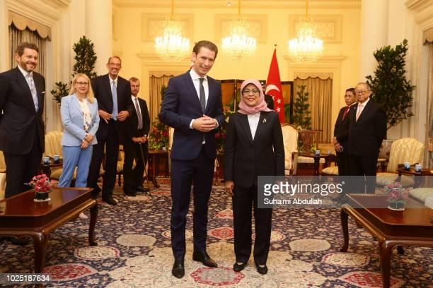Austrian Chancellor Sebastian Kurz meets with Singapore President Halimah Yacob at the Istana on August 30 2018 in Singapore Sebastian Kurz is on a...
