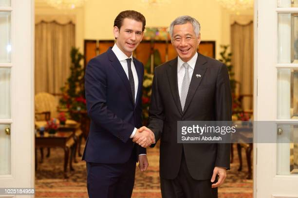 Austrian Chancellor Sebastian Kurz meets with Singapore Prime Minister Lee Hsien Loong at the Istana on August 30 2018 in Singapore Sebastian Kurz is...