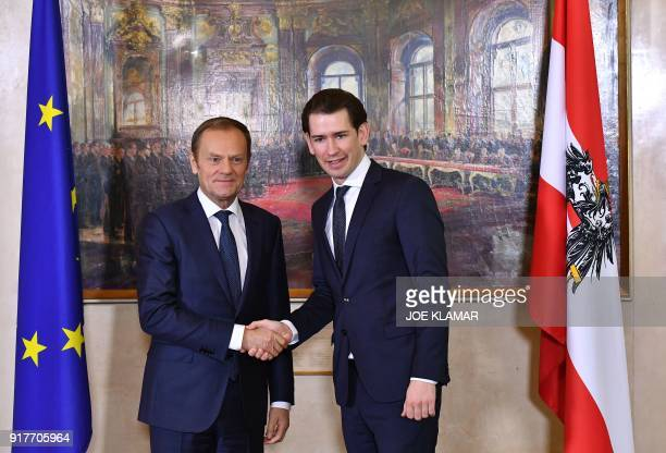 Austrian Chancellor Sebastian Kurz shakes hands with European Council President Donald Tusk on February 13 2018 at the Chancellery in Vienna They...