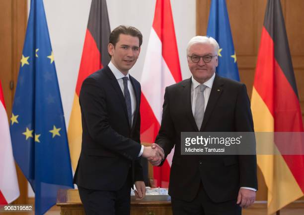 Austrian Chancellor Sebastian Kurz signs the Guestbook and President FrankWalter Steinmeier shake hands after the Guestbook sign in the Bellevue...