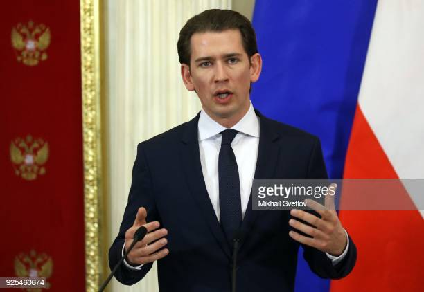 Austrian Chancellor Sebastian Kurz speeches during a press conference at the Kremlin on February 28 2018 in Moscow Russia Chancellor of Austria Kurz...