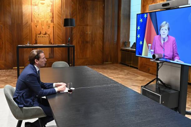 AUT: Sebastian Kurz Holds Video Conference With Angela Merkel