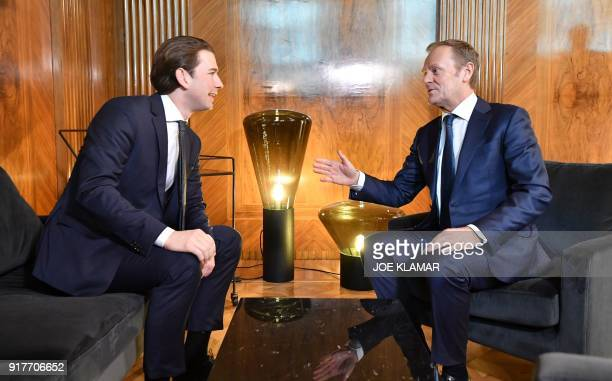 Austrian Chancellor Sebastian Kurz talks with European Council President Donald Tusk on February 13 2018 at the Chancellery in Vienna They meet to...