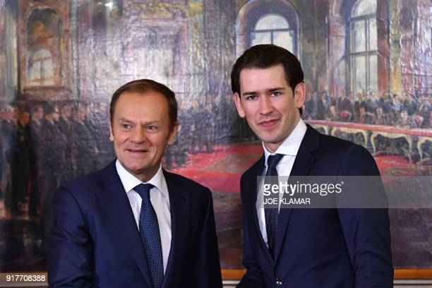 Austrian Chancellor Sebastian Kurz welcomes European Council President Donald Tusk on February 13 2018 at the Chancellery in Vienna They meet to...