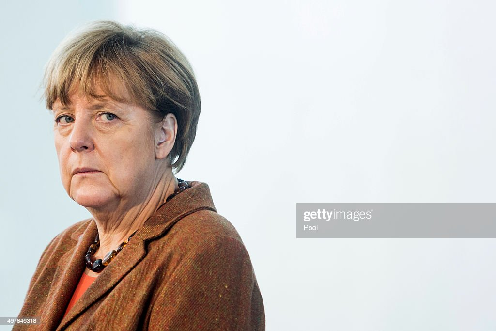 German Chancellor Merkel Gives A Joint Press Conference With Austrian Chancellor Faymann : News Photo