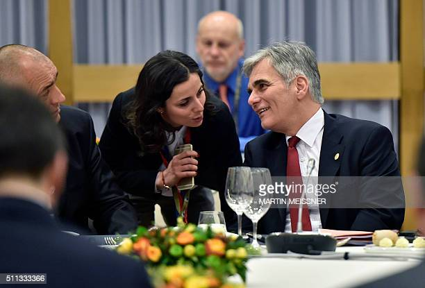 Austrian chancellor Werner Faymann attends a European Union heads of state dinner during an EU summit in Brussels on February 19 2016 EU leaders on...