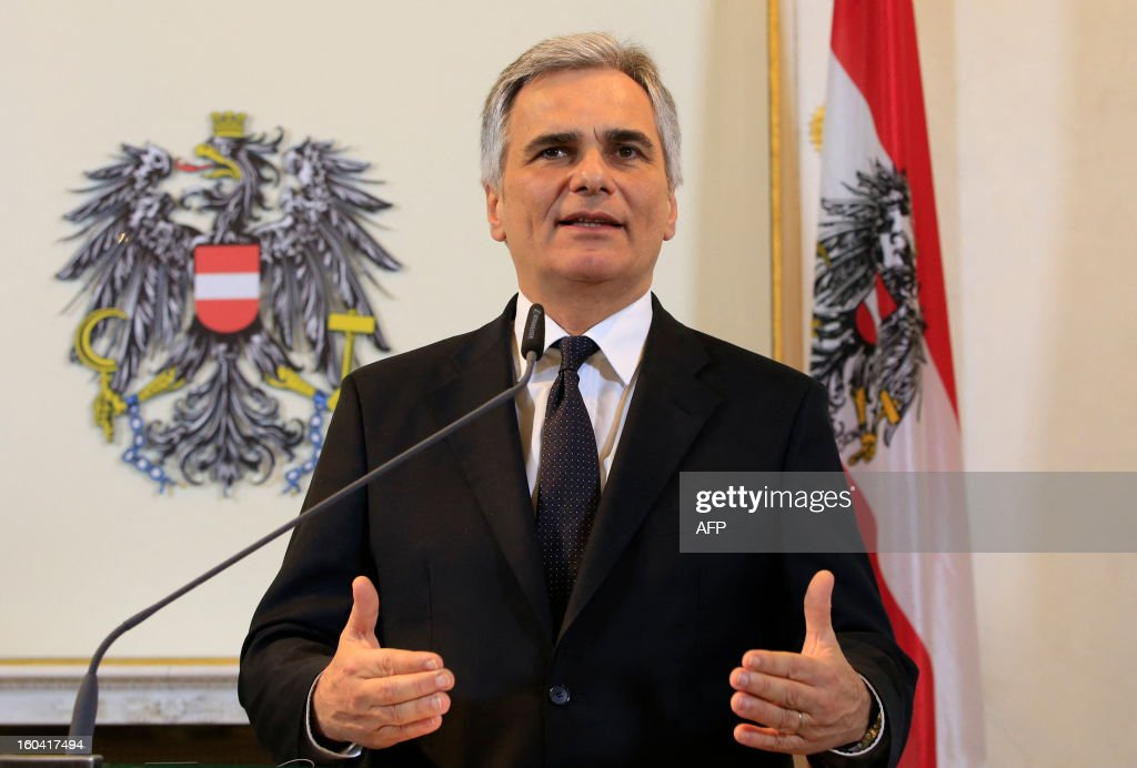 Austrian Chancellor Werner Faymann speaks at a joint press conference with European Commission President Barroso (not in pic) after a meeting in Vienna, Austria on January 31, 2013.