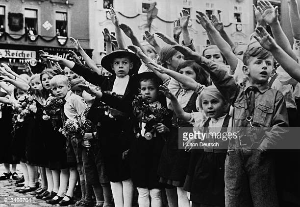 Austrian Children Saluting Hitler