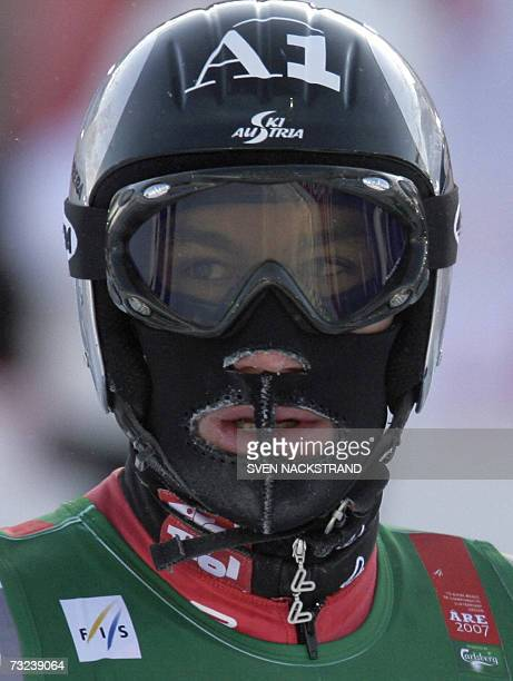 Austrian Christoph Gruber wears a mask to protect himself against the cold during the men's downhill training 07 February 2007 at the Alpine World...