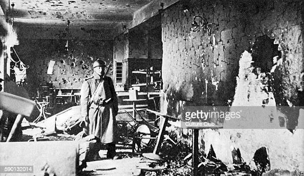 Austrian Civil War / February uprising Austria 1934 Destroyed room after shelling by Austrian troops in the Karl Marx Building in Vienna where...