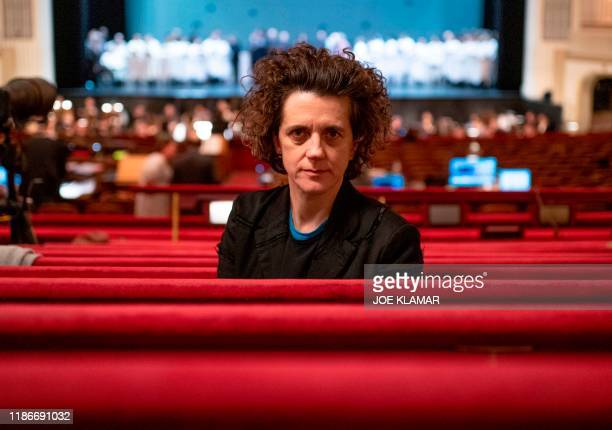 Austrian composer Olga Neuwirth poses for a picture during the rehearsal of her piece 'Orlando' on December 3 2019 at the State Opera in Vienna...