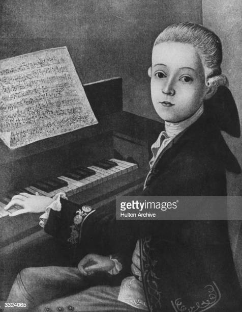 Austrian composer Wolfgang Amadeus Mozart at the keyboard at the age of 9 Original Artwork Painting by J N Helbling at the Mozarteum Salzburg